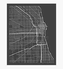 Chicago Map, USA - Gray Photographic Print