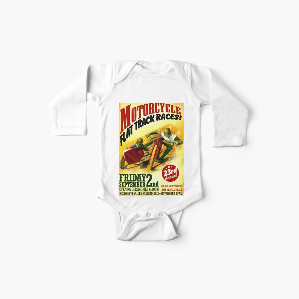 """MOTORCYCLE FLACHSTRECKE"" Vintage Racing Print Baby Body"