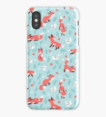 Fox and Bunny Pattern iPhone Case