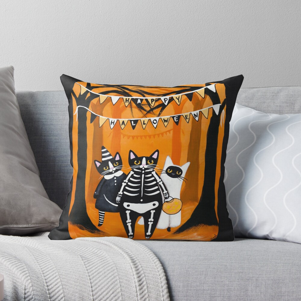 The Halloween Cats Throw Pillow
