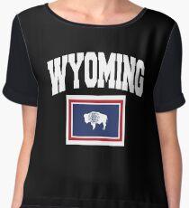 Wyoming Flag in Wyoming Map Chiffon Top