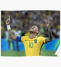 Neymar GOLD Olympics Rio 2016 (With Background)  Poster