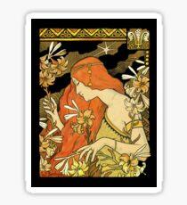 Nouveau Woman Among the Lilies Sticker