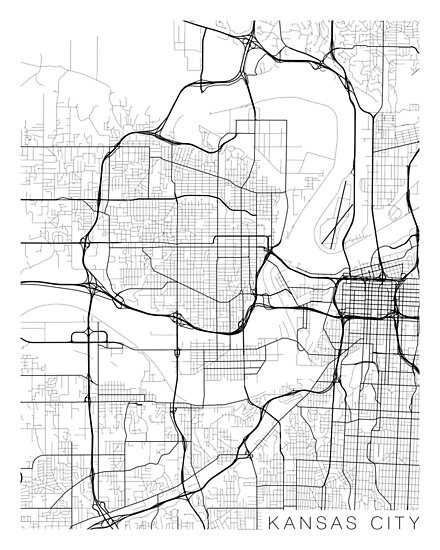 Kansas City Map, USA - Black and White Posters by MainStreetMaps ...