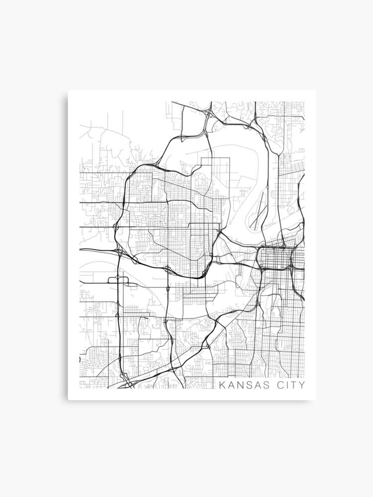 Kansas City Map, USA - Black and White\