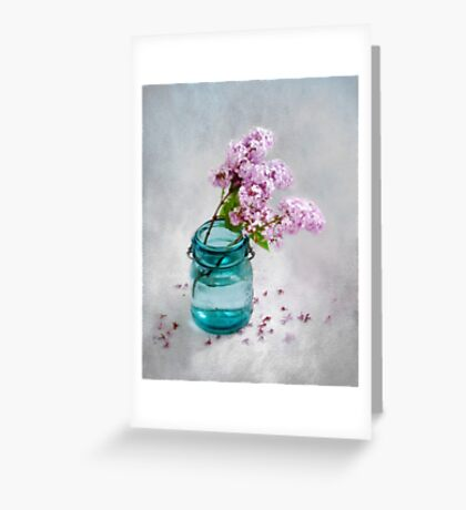 Lilacs in a Green Glass Jar Greeting Card