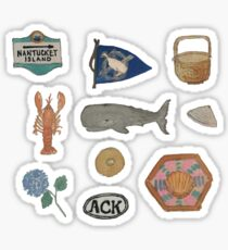 Vintage Nantucket Island Collection Hand-painted Watercolor Sticker