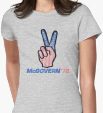 George McGovern Hand Peace Sign 1972 Presidential Campaign Women's Fitted T-Shirt