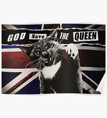 God Save The Queen Cat Poster