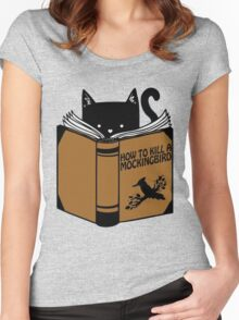 CAT AND BOOK Women's Fitted Scoop T-Shirt