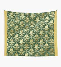 Damask Glitter Gold Dark Green Classic Elegant Wall Tapestry