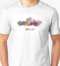 Denver skyline in watercolor Unisex T-Shirt