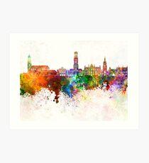 Bruges skyline in watercolor background Art Print