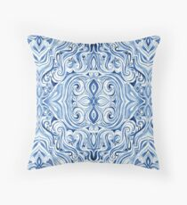 Indigo Blue Watercolor Swirl Pattern Throw Pillow