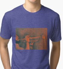 Jazz session. Drawing of man playing the trumpet. Tri-blend T-Shirt