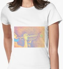 Jazz session. Drawing of man playing the trumpet. Women's Fitted T-Shirt