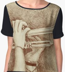 Jazz session. Drawing of man playing the trumpet. Women's Chiffon Top