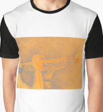 Jazz session. Drawing of man playing the trumpet. Graphic T-Shirt