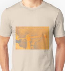 Jazz session. Drawing of man playing the trumpet. Unisex T-Shirt