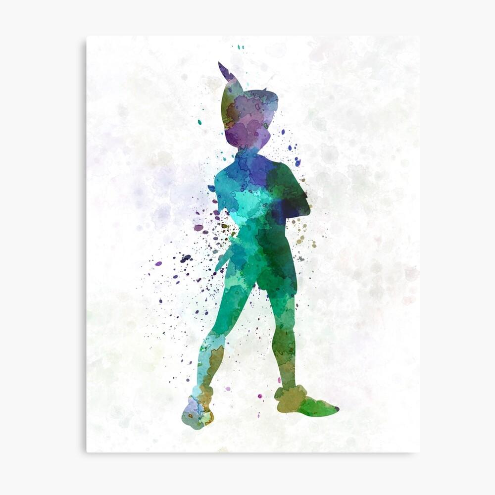 Peter Pan in Aquarell Metallbild