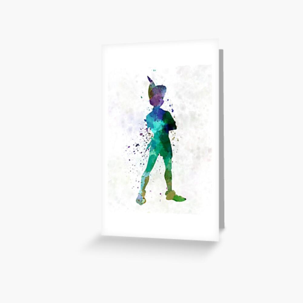 Peter Pan in Aquarell Grußkarte