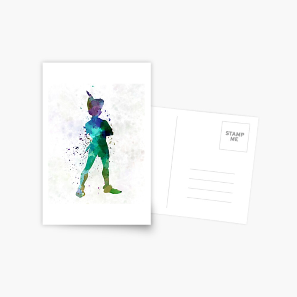 Peter Pan in Aquarell Postkarte