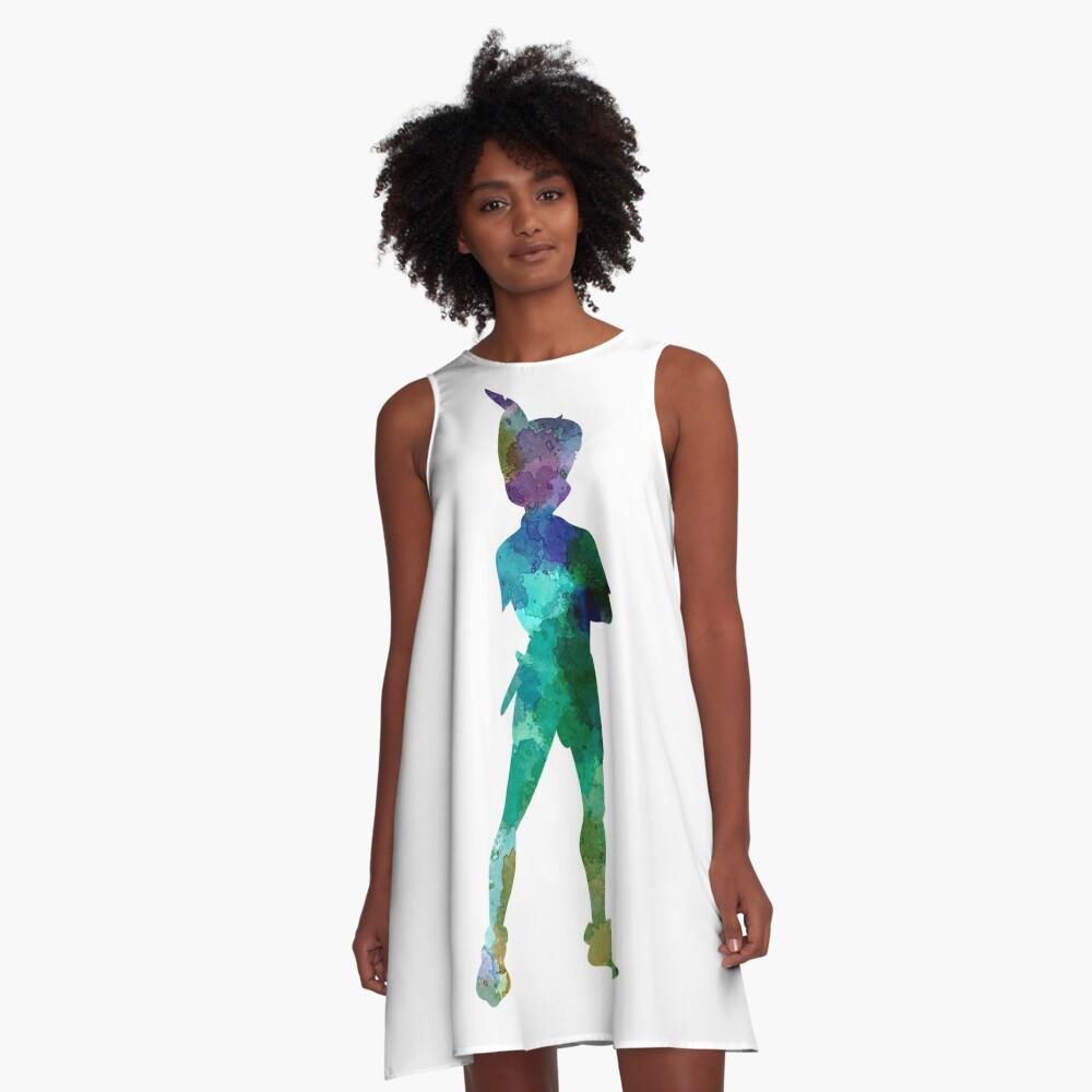 Peter Pan in Aquarell A-Linien Kleid