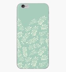 Painted Leaves - a pattern in cream on soft mint green iPhone Case