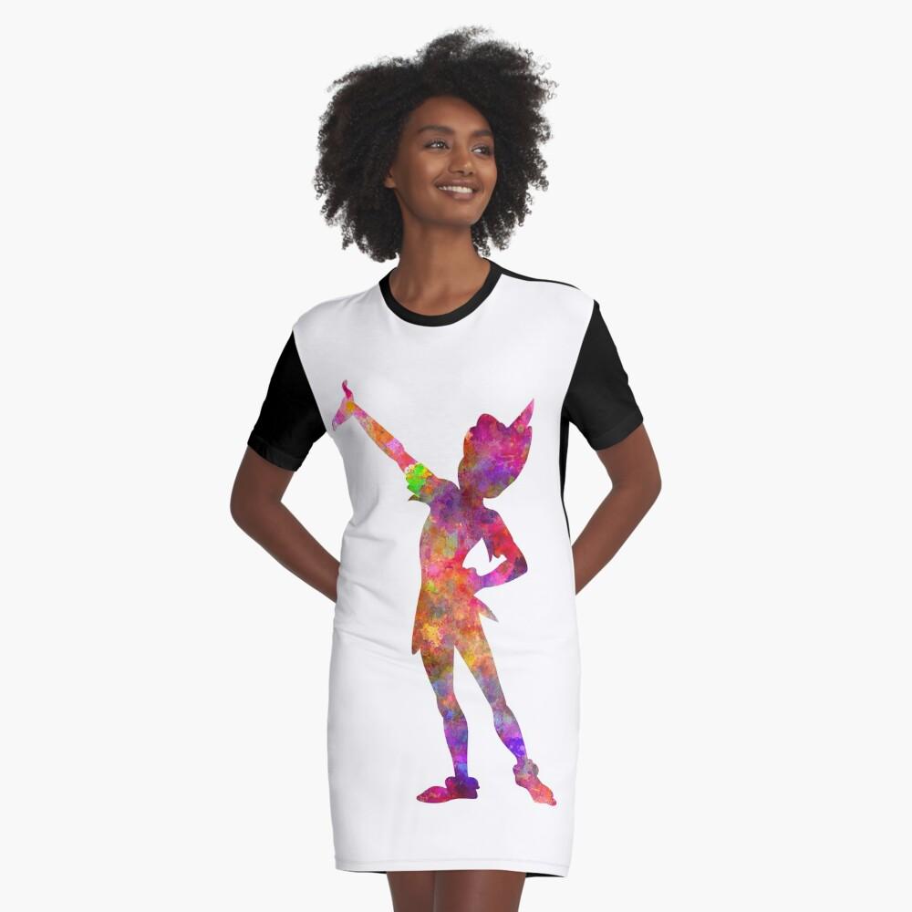 Peter Pan in Aquarell T-Shirt Kleid
