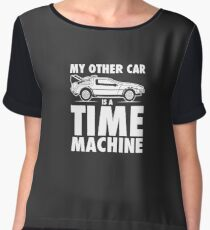 My Other Car Is A Time Machine Retro 80s Funny Logo Chiffon Top