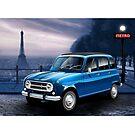Poster artwork - Renault 4L 'Quatrelle' Paris Scene by RJWautographics