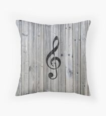 Vintage black music note Treble Clef gray wood Throw Pillow