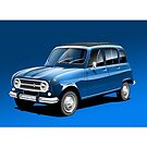 Poster artwork - Renault 4L 'Quatrelle' by RJWautographics