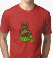 MERMAID LUCKY BLACK CAT Tri-blend T-Shirt
