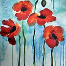 Watercolor Poppies by Tanya Nevin
