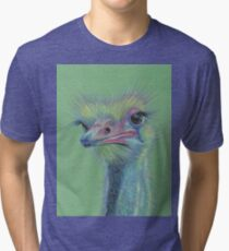 Fantasy Turquoise Emu Bird Tri-blend T-Shirt