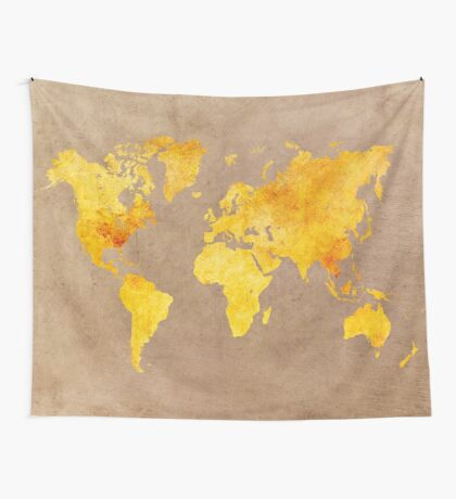 World map gold Wall Tapestry