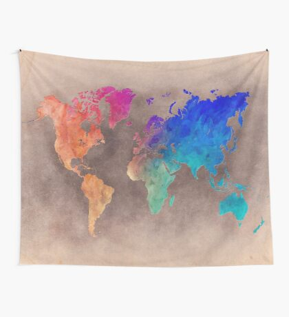 World map 5 Wall Tapestry