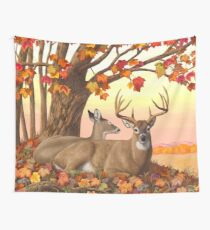 Whitetail Deer Autumn Maple Tree Wall Tapestry