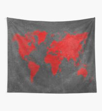 World map black and red Wall Tapestry