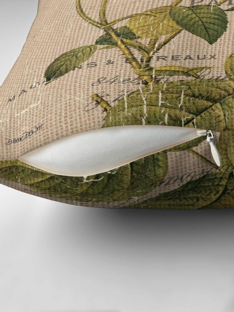 Alternate view of Vintage Burlap Floral 2 Throw Pillow