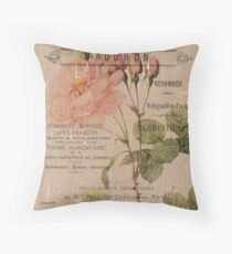 Vintage Burlap Floral 4 Throw Pillow