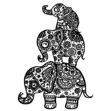 Elefantenfamilie in Schwarz von Lil-Salt