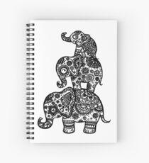 Cuaderno de espiral Familia de elefantes en negro