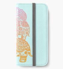 Elefantenfamilie in Farbe iPhone Flip-Case/Hülle/Klebefolie