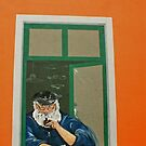 old Fisherman at an window - wall painting by Remo Kurka