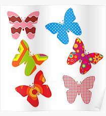 Super girly,Multi pattern,butterflies, cut out art,fun,happy,kid,kids,children,vivid,colorful Poster