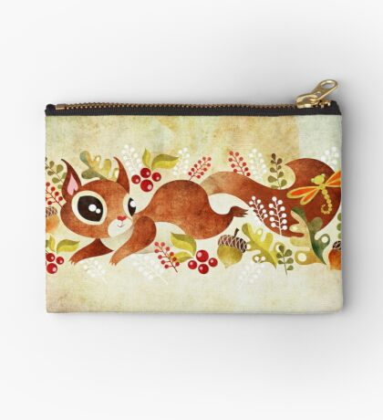 Playful Squirrel Zipper Pouch