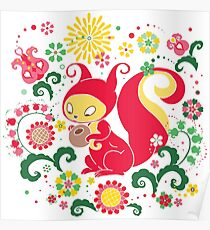 RED Squirrel with Nut. Russian Background. Transparent.  Poster