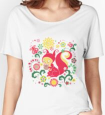 RED Squirrel with Nut. Russian Background. Transparent.  Women's Relaxed Fit T-Shirt
